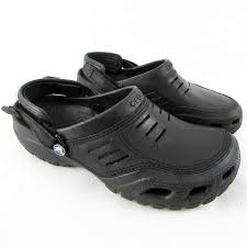 Office Shoes Crocs Yukon Sport Mens Black Leather Crocks Clogs Size
