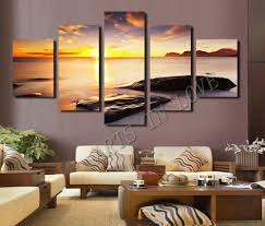 Modern Art Paintings For Living Room Hot Sell Diamond Sunset Beach Stone Modern Home Wall Decor Canvas