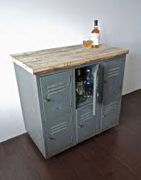 Industrial Bar Cabinet Vintage Metal Lockers With Reclaimed Wood Top On Casters