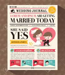 Wedding Invitation Newspaper Template Cartoon Newspaper Journal Wedding Invitation Design Template