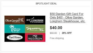 only 40 for a 50 gift card to red lobster olive garden longhorn steakhouse and more on free