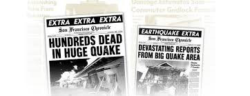 Image result for 1989, San Francisco is rocked by the biggest earthquake newspapers
