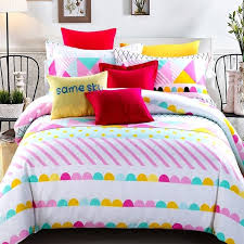trendy aqua pink yellow and white colorful stripe and polka dot print pastel style twin full size bedding sets for girls