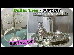dollar tree diy home decor dupe 2 tiered tray stand glam easy