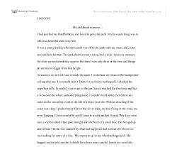 descriptive essay about a childhood memory