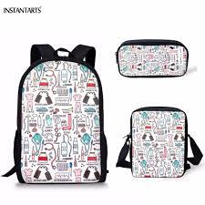 <b>FORUDESIGNS Fashion Cartoon</b> Nurse Print 3PCS School Bags for ...