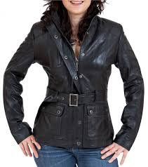 women s belted leather jacket in black tahre front
