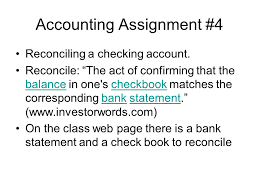 accounting bank reconciliation ppt video online  2 accounting assignment