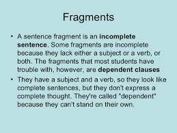 Sentence Vs Fragment