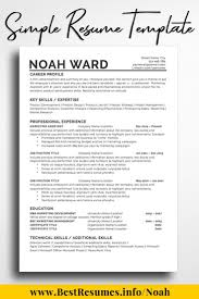 Resume Template Noah Ward Networking One Page Resume Template