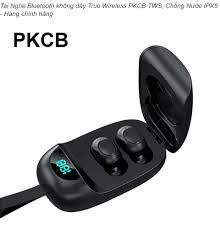 Tai nghe âm thanh nổi Bluetooth V5.0 Tai nghe không dây Tai nghe nhét tai  mới không thấm nước có màn hình LED TWS PKCB - Hàng Chính Hãng