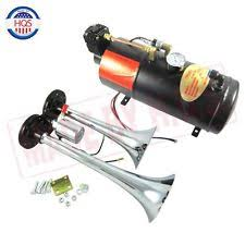 air horn kit dual 2 trumpet chrome train air horn kit w 150 psi 3 liter 12v