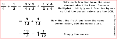Adding Fractions - EnchantedLearning.comTo add two or more fractions, first make all the fractions have the same denominator. To do this, find the least common multiple of the two denominators.