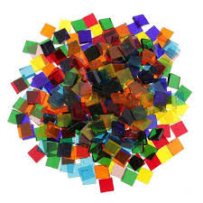 250pcs colorful square clear glass pieces mosaic tiles craft tessera 10x10mm