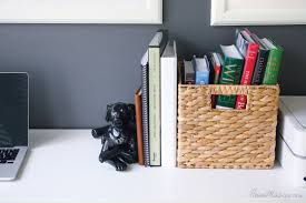 how to organize office space. Use Baskets To Organize Books And Paper In Home Office How Space C