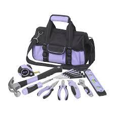 purple tool set. household tool set with soft case purple y