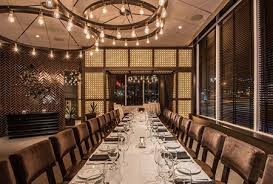 back bay room with one long table