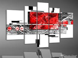 acrylic paint bright oil paintings canvas art beauty es 5 panel red black white abstract art home decoration wall art unframed