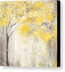 yellow and gray tree canvas print canvas art by lourry legarde