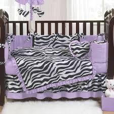 purple black and white zebra print 9 piece crib bedding set