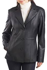 bgsd women s crystal lambskin leather blazer regular plus short at women s coats