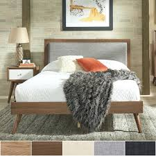 wood bed frame queen queen size mid century linen and wood bed by inspire q modern