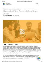 Microsoft Office Curriculum Microsoft Office Essentials Certificate Course Adams Academy