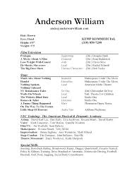 Musician Resume Example Stunning Actors Resume Sample Acting Amazing Template No Experience With