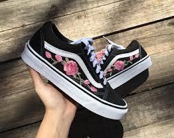 vans embroidered rose. pink roses custom vans embroidered rose o