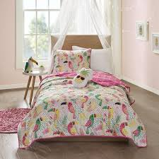 yellow coverlet girls white yellow green pink toucan themed coverlet twin set tropical birds bedding fun