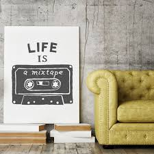 life is a mixtape canvas print wall art from print4one available in 5 sizes and standard or gallery thickness made from the highest quality of  on standard wall art sizes with life is a mixtape canvas print pinterest mixtape canvases and