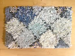 blue diamond rag rug