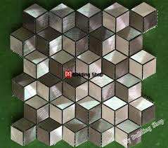 remarkable 3d metal mosaic stainless steel tile backsplash smmt094 metallic metallic wall tiles kitchen