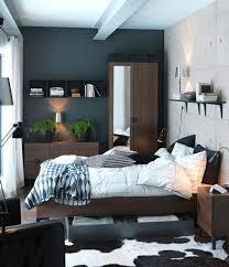 small bedroom set up cow fur carpet plants