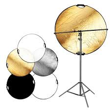 2019 whole 5 in 1 portable round camera lighting reflector diffuser disk with feet light stand and holder arm for photo studio from zhanhuainternet