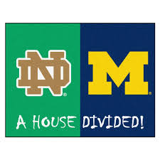 fanmats ncaa notre dame michigan house divided 3 ft x 4 ft area