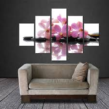 5 pieces frameless canvas photo prints purple orchid wall art picture canvas paintings home decor wall on orchids wall art with 5 pieces frameless canvas photo prints purple orchid wall art