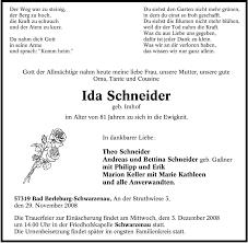 Traueranzeigen von Ida Schneider   WAZ.Trauer.de
