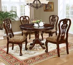 cm3212rt 5pc 5 pc elana brown cherry finish wood 48 round dining table set
