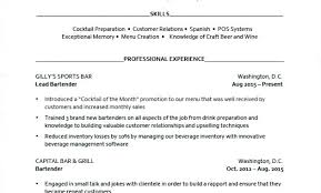 Resume Examples For Bartender Examples Of Bartender Resumes Free