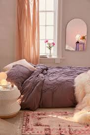 this urban outfitters solid dusty purple bedding has a textural roped 3d fl pattern
