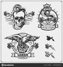 Sada Tetování Salon štítky Odznaky Prvky Návrhu Tattoo Studio