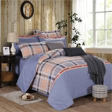 blue white red orange and brown tattersall plaid print scottish style full queen size bedding sets