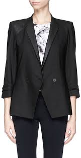 helmut lang combed leather trim double ted wool blazer