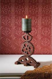 Cog Carved Candlestick Steampunk Decor For Sale