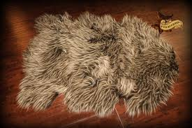 Faux Bearskin Rug Brown Two Tone Sheepskin Throw Faux Fur Pelt Accent Rug Bear