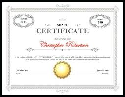 Example Of Share Certificate Enchanting Free Company Share Certificate Template Example Best Corporate South