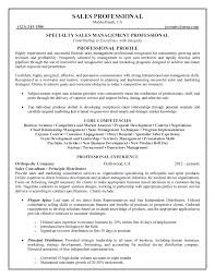 Specialty Sales Management Professional Resume