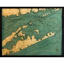 Long Island Sound Bathymetric Wood Chart