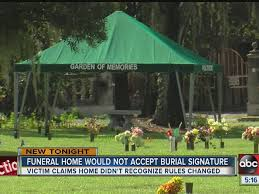 tampa man accuses cemetery of discrimination after refusing to allow him to sign burial forms